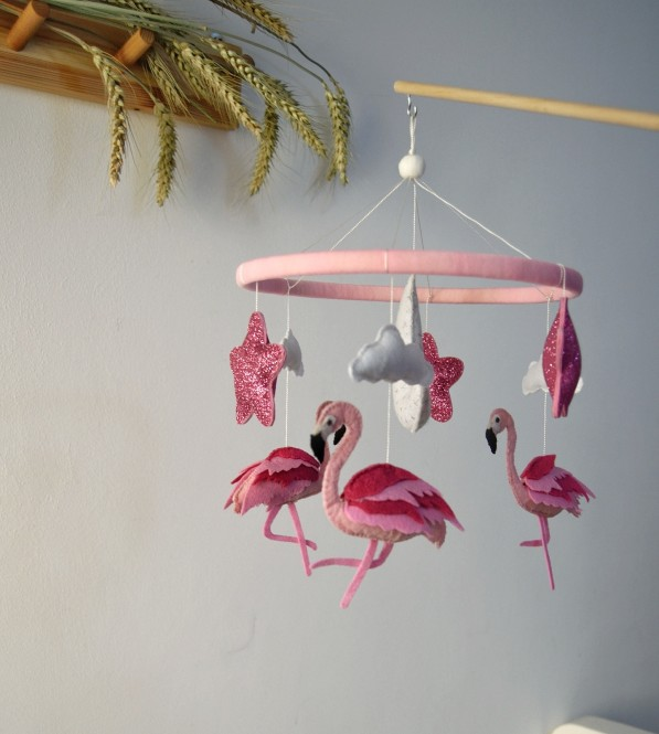 "Crib Mobile ""Flamingo """