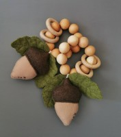 """Teether - Rattle """"Acorn"""" with a squeaker"""